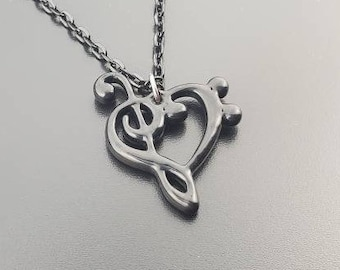 Love of Music Heart Necklace from Treble Clef and Bass Clef, Music Lover's Necklace