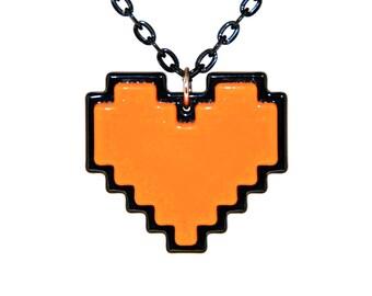 Orange Pixel Heart Necklace, Digital 8 Bit Retro Gaming Heart, Undertale Soul, Zelda Heart Container, Orange for Bravery, Gift For Her