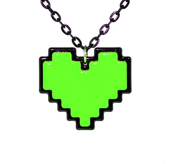 Undertale Cosplay Collier Numérique 8 Bits Pixel Coeur Coeur Zelda Conteneur Vert Pour Gentillesse