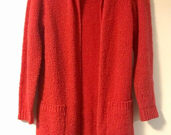 Vintage 70s 80s Oversized Red Cardigan Sweater