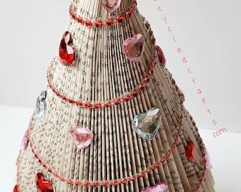 Repurposed Book Valentines tree,  Vintage inspired Valentines,  Book Lover, Book Tree, tree of hearts, Valentines day gift,
