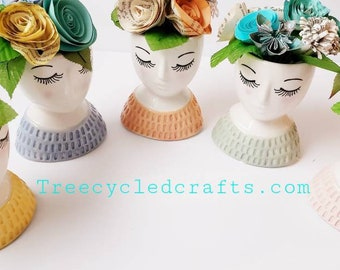 Paper Flower Hat Lady vases, Book page paper flowers, Easter Bonnet,  spring lady,librarian,  teacher gift, recycle books, repurposed books