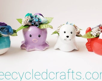 Sea Creatures, Cute sea animal vases, Book page paper flowers, seal, crab, octopus, whale,  teacher gift, recycle books, repurposed books