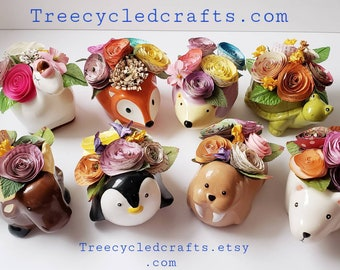 Cute animal vases, Book page paper flowers, Valentines day, spring,  mother's day,librarian,  teacher gift, recycle books, repurposed books