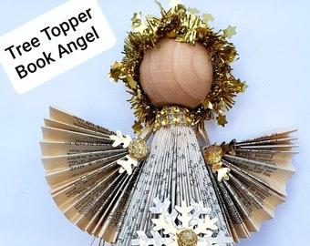 Repurposed book Angel Tree Topper