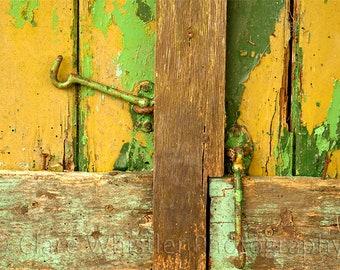 Metal Latch Hooks / Mustard & Green Peeling Paint / Urban Decay Garage / Contemporary Wall Art / Limited Edition Print