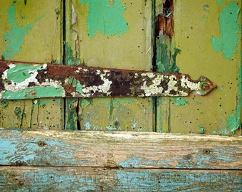 Metal Hinge on Wood / Rust & Olive Green Peeling Paint / Urban Decay Garage / Contemporary Wall Art / Limited Edition Print
