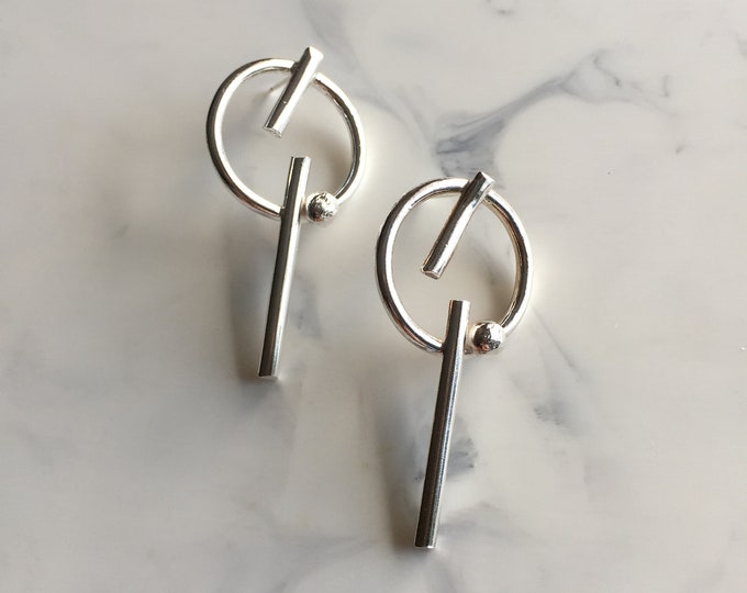 Contemporary Geometric Sterling Silver Earrings