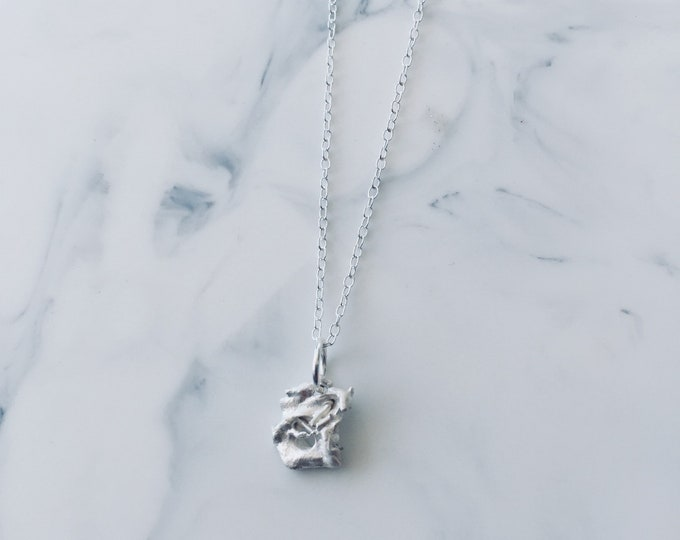Contemporary Fused Silver Charm on a Chain