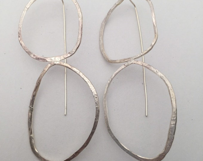 Oval Beach Rock Drop Earrings