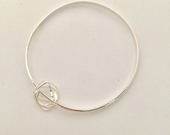 Mila Charm Sterling Silver Bangle