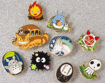 Studio Ghibli Hard Enamel Pin Collector's Set Accessory Gift Hayao Miyazaki Totoro Haku Calcifer Kodama Mononoke Catbus No Face Soot Sprite