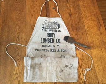 Canvas Store Apron, Lumber Apron, Vintage Apron, Utility Apron, Crafting Apron, Work Wear