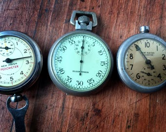 Vintage New Haven Pedometers and Elgin Timer