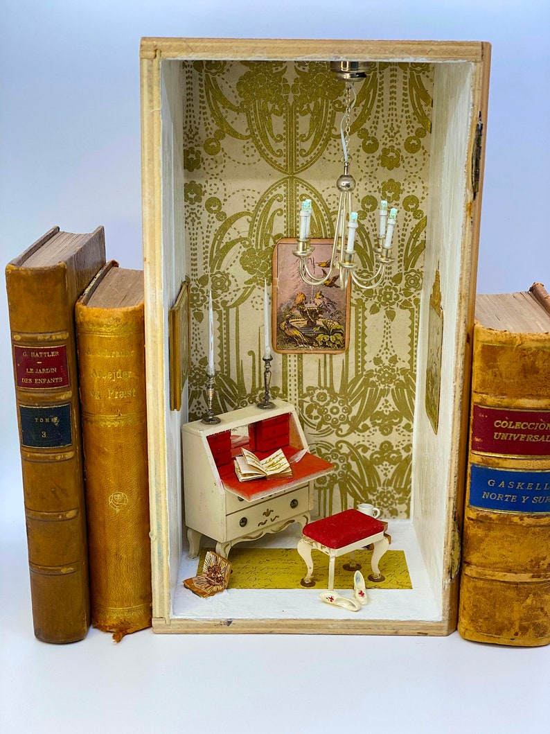 Versailles Book Nook Shelf Art antique doll house gift for image 0