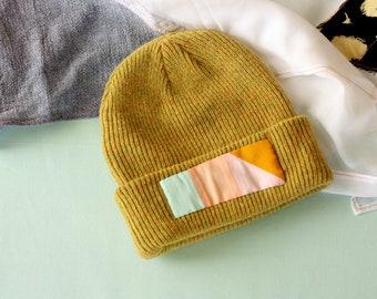 15fd2dfecae Ochre Merino Wool Beanie    One of a Kind    Stocking Cap    Quilted Hat     Yellow Beanie    Wool Cap