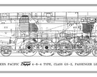 """Southern Pacific """"Daylight GS-2"""" 4-8-4 Type Locomotive Drawing - 3 Views"""