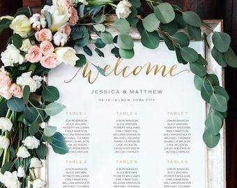 6/9/15 Tables 3 Columns 4 Sizes Faux Gold Wedding Seating Chart Template Rustic Seating Chart Welcome Seating Sign Find your seat Sign #S55G