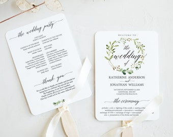 Wedding Program Fan Etsy