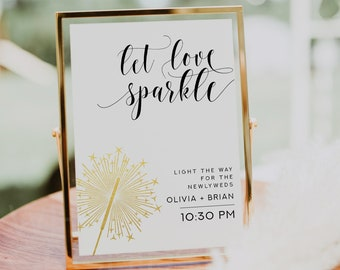 Midnight Blue Night Sky Let Love Sparkle Sparkler Send-off Cards : Text-Editable in Microsoft\u00ae Word 2.25x2.25 Printable Instant Download
