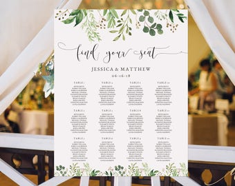 Greenery Wedding Seating Chart Template Find your seat sign Seating Chart Poster Greenery Seating Chart Seating Plan Editable Template #S33