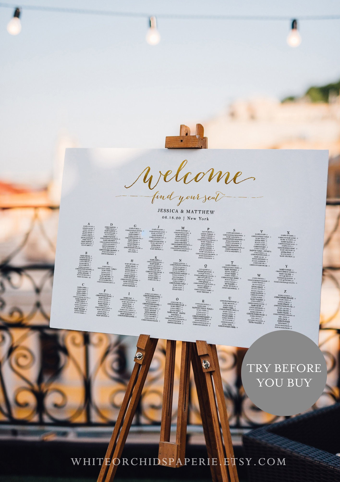 Gold Welcome Seating Chart Wedding Seating Chart Wedding Seating Plan Alphabetical Seating Chart Fully Editable Corjl Template S1946hg