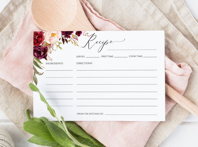 photo about Free Printable Recipe Cards for Bridal Shower titled Marsala Marriage ceremony Recipe Card, Bridal Shower Recipe, Floral Recipe Card, Recipe Template, Printable Recipe, Shower Recipe Card, #17_MB1