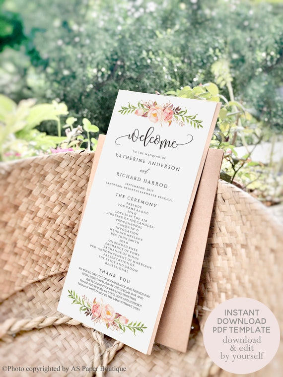 Rustic Peony Floral Wedding Program Template Wedding Ceremony Etsy
