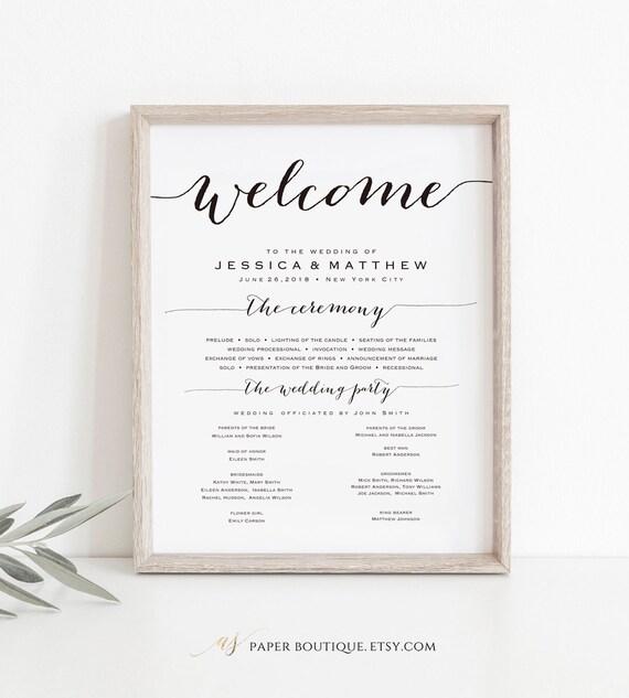 4 sizes wedding program sign welcome wedding sign wedding etsy
