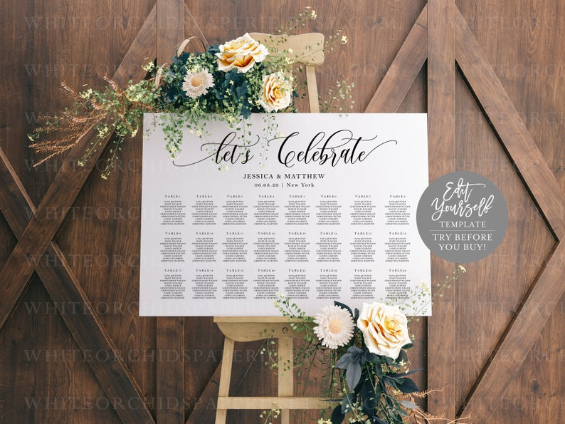 Script Let/'s Celebrate Seating Chart Wedding Seating Sign Seating Chart Board Fully Editable #19515 Try Before You Buy