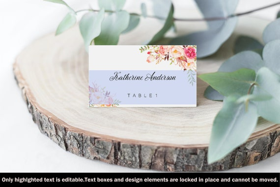 Diy Wedding Place Cards Rustic Peony Place Cards Editable Etsy