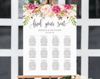 Rustic Peony Wedding Seating Chart Template Rustic floral seating chart Seating Chart Template  Boho Floral Seating Chart #S06