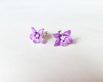 Flower Studs Earrings -Violets- Sterling Silver Enamel