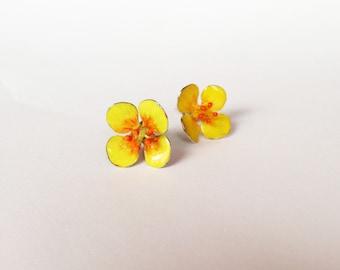 Flower Studs Earrings -Tormentil- Sterling Silver Enamel