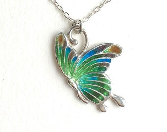 Butterfly Necklace cloisonne email enamel sterling silver necklace