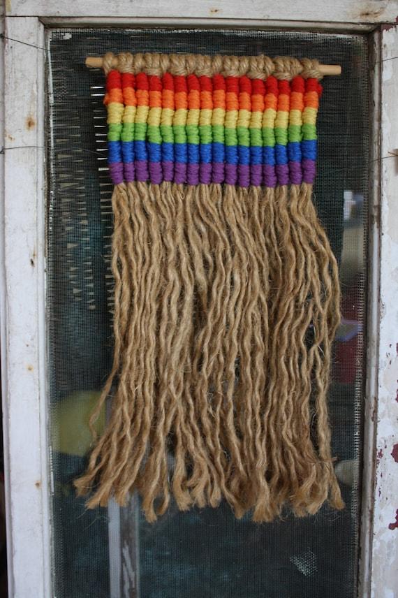 Vintage Rainbow Macrame Wall Hanging Etsy