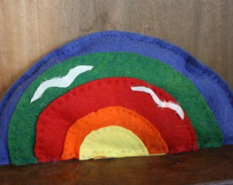 Handmade Vintage Rainbow Pillow