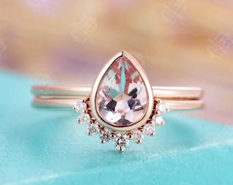 Morganite Engagement Ring set Vintage Rose Gold Diamond curved Wedding band Women Pear Shaped bezel set Stacking Anniversary ring