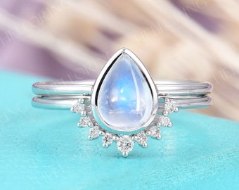 Simple Moonstone Engagement Ring set White Gold ring for women Diamond curved wedding band Pear cut birthstone Anniversary Promise ring