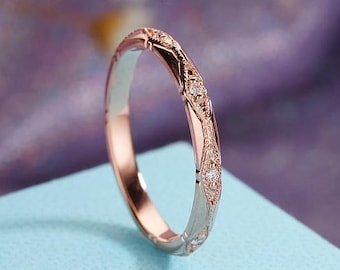 Rose Gold Wedding Band Women Vintage Art Deco Diamond Eternity Milgrain Bridal Set Stacking Antique Promise Unique Anniversary Gift for her