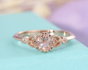 Morganite ring Unique engagement ring Rose gold Vintage Antique Art deco Halo diamond wedding Flower Bridal Jewelry Promise Gift for women