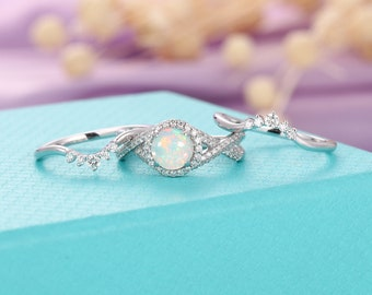 1928426cc Opal engagement ring set vintage white gold women,Halo set diamond wedding  ring,Unique Anniversary gifts for her,Stacking ring Half eternity