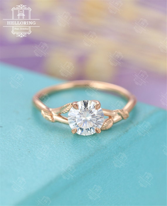 Moissanite Engagement Ring Rose Gold Solitaire Engagement Ring Etsy
