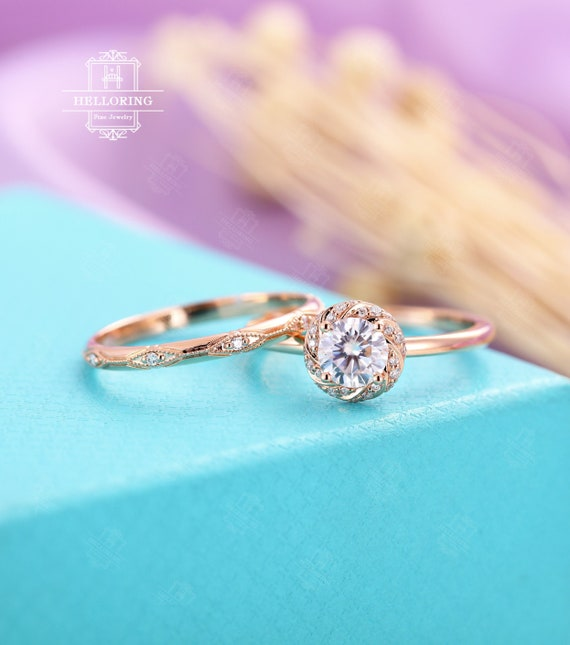 Rose Gold Engagement Ring Set Womenvintage Moissanite Wedding Etsy