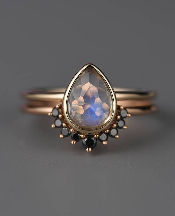 Moonstone Engagement Ring Setblack Diamond Band Pear Shaped Etsy