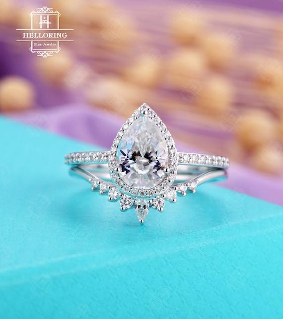 Vintage Moissanite Engagement Ring Set White Gold Art Deco Etsy