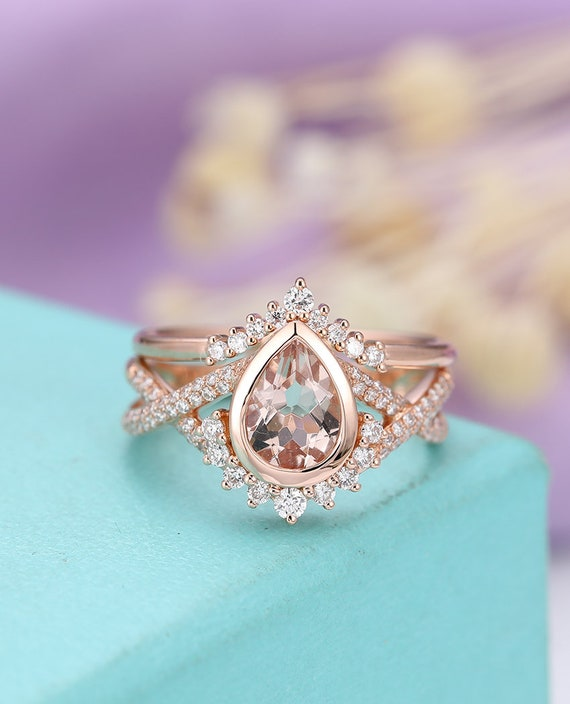 Morganite Engagement Ring Vintage Rose Gold Wedding Women Etsy