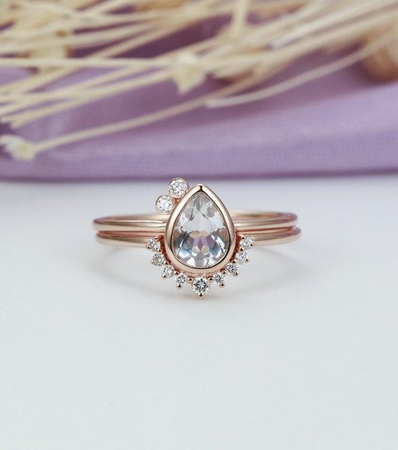 Unique Topaz Engagement Ring Rose Gold Pear Shaped Cut Vintage Etsy