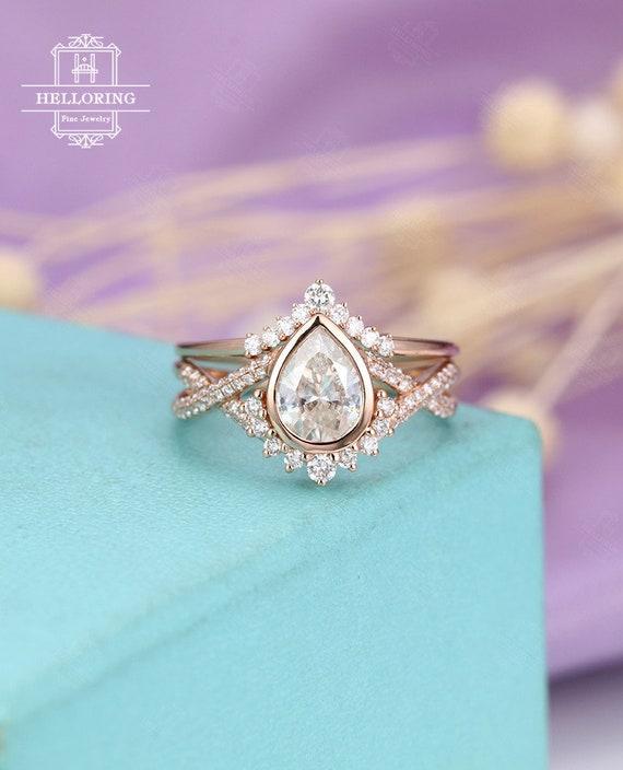 Moissanite Engagement Ring Set Vintage Art Deco Rose Gold Etsy