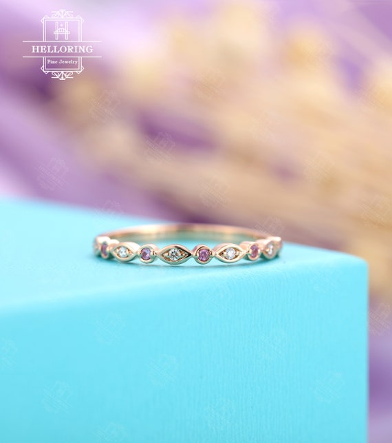Pink Sapphire Wedding Ring Natural Diamond Sapphire Wedding Band Half Eternity Band Solid 14k 18k Gold Thin Stacking RingPersonalized